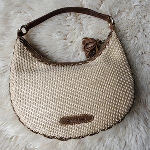 Cole Haan Sarah Straw Woven and Leather Handbag